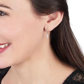 Boucles D'oreilles Pendantes Lauren Argent Blanc Oxyde De Zirconium - Boucles d'oreilles fantaisie Femme   Histoire d'Or