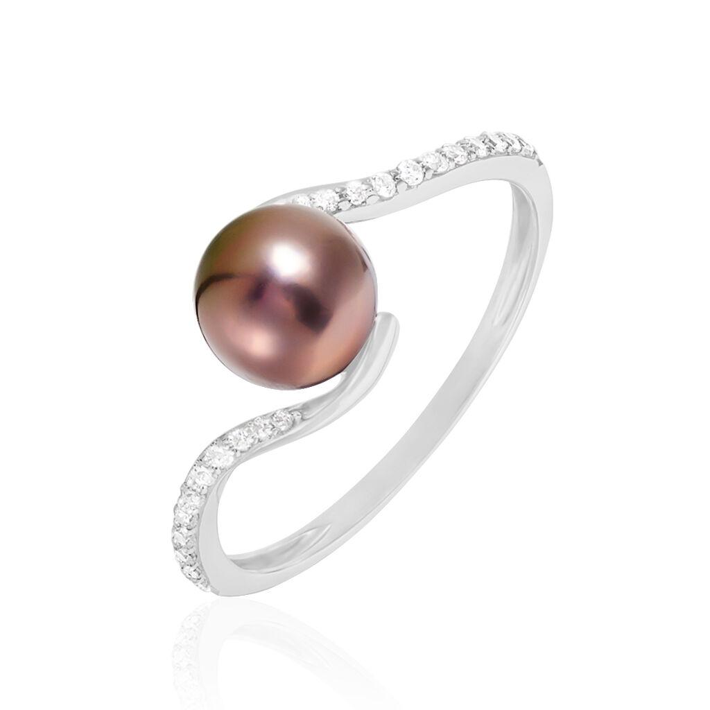 Bague Anais Or Blanc Perle De Culture Et Oxyde De Zirconium - Bagues avec pierre Femme | Histoire d'Or