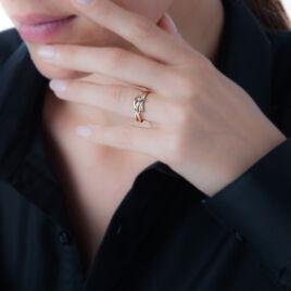 Bague Carmel Plaque Or Bicolore Oxyde De Zirconium - Bagues avec pierre Femme   Histoire d'Or