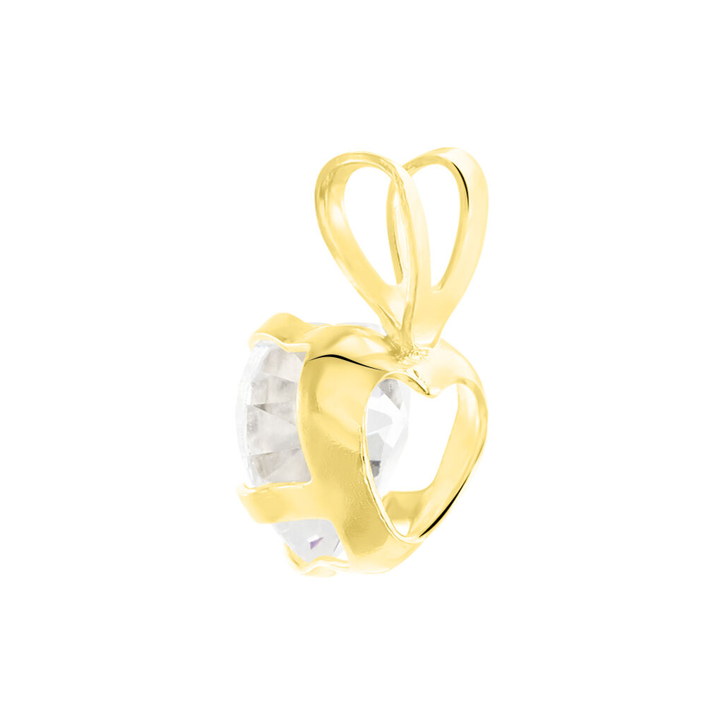 Pendentif Coeur Serti Griffe Or Jaune Oxyde De Zirconium - Pendentifs Coeur Femme | Histoire d'Or