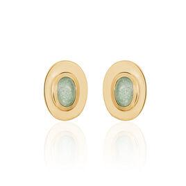 Boucles D'oreilles Puces Vein Plaque Or Jaune Aventurine - Boucles d'oreilles fantaisie Femme | Histoire d'Or
