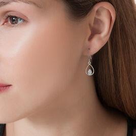 Boucles D'oreilles Puces Or Blanc Oxyde De Zirconium - Boucles d'Oreilles Coeur Femme   Histoire d'Or