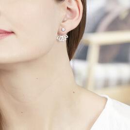 Bijoux D'oreilles Or Blanc Topaze Et Diamant - Ear cuffs Femme   Histoire d'Or