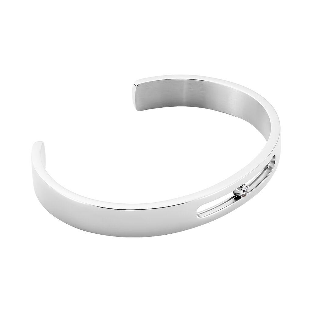 Bracelet Jonc Zeto Acier Blanc Strass - Bracelets fantaisie Homme | Histoire d'Or