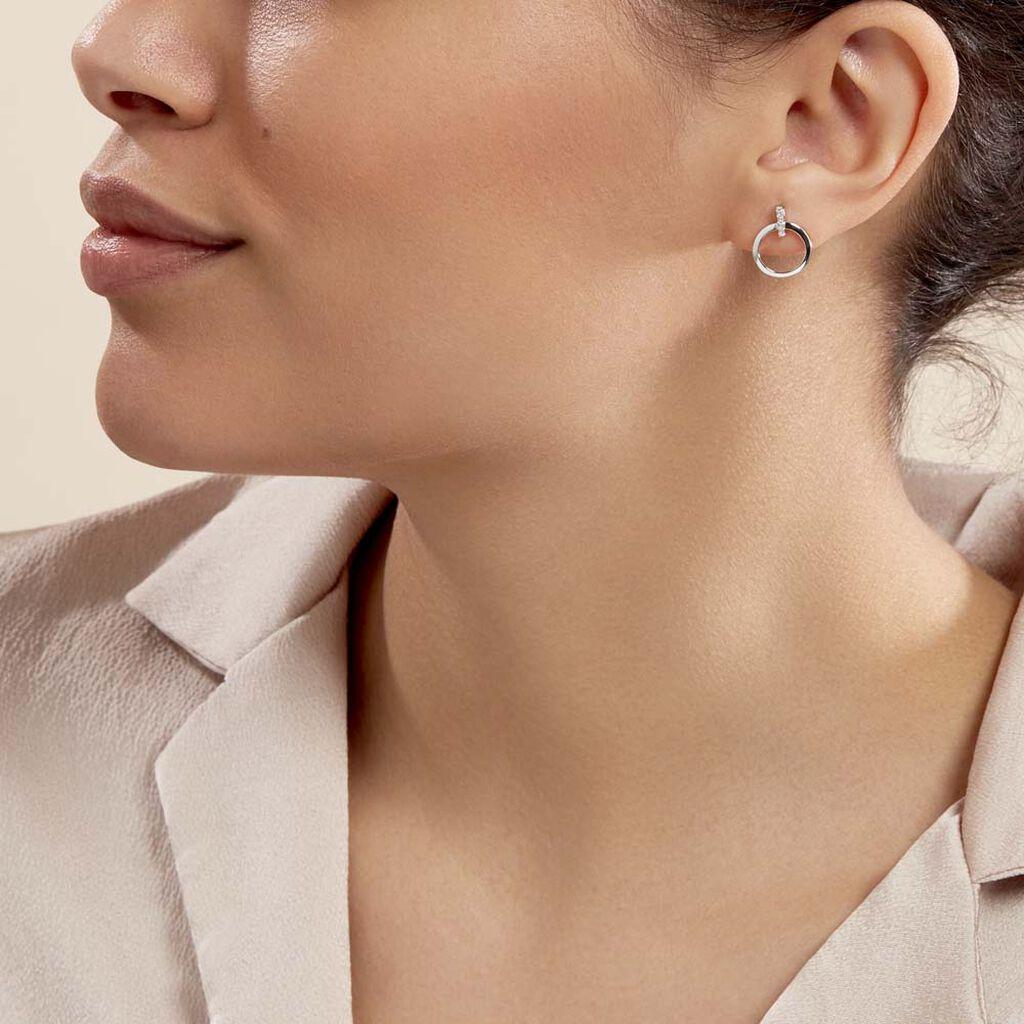 Boucles D'oreilles Puces Melissande Or Blanc Diamant - Clous d'oreilles Femme   Histoire d'Or