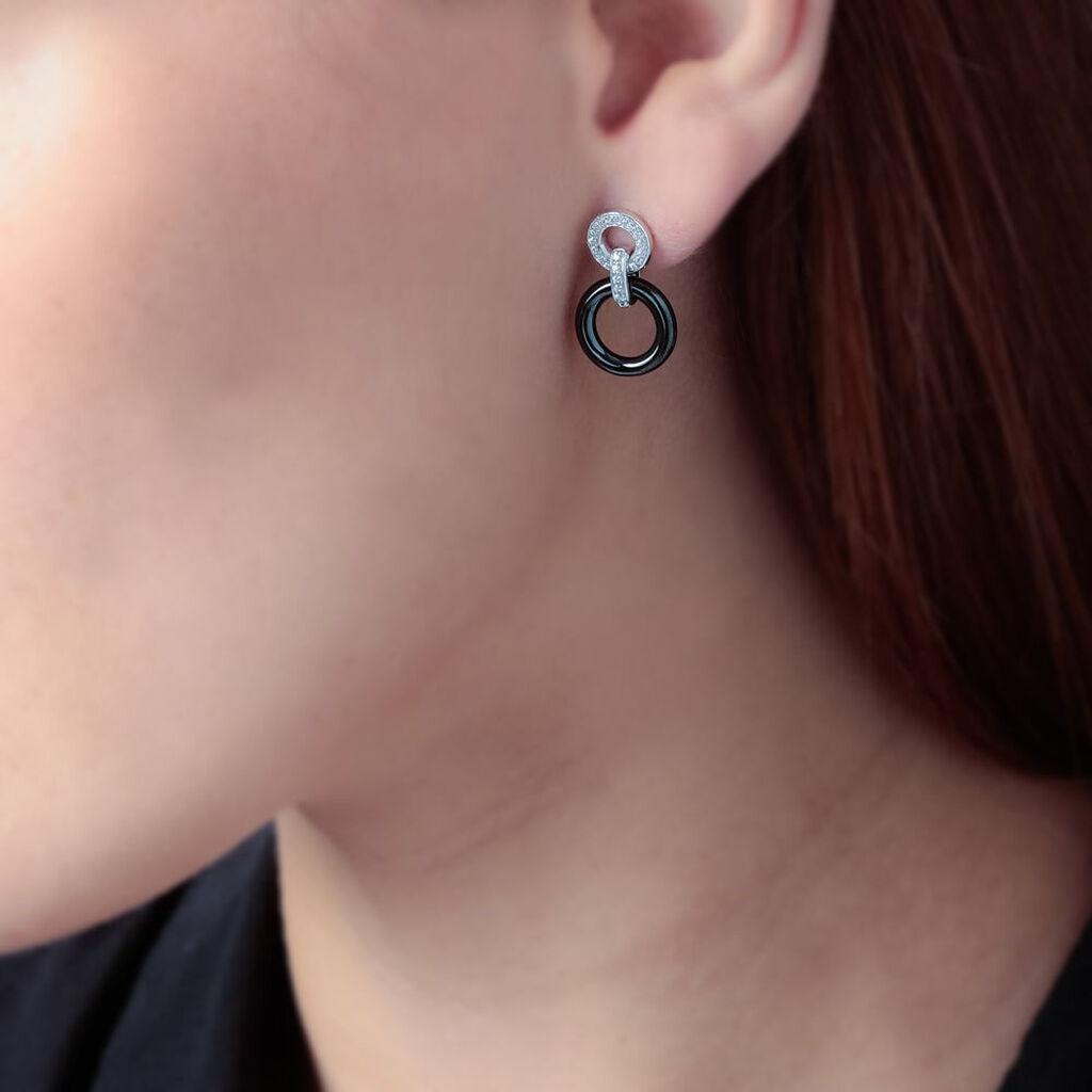 Boucles D'oreilles Pendantes Besmala Argent Oxyde Et Céramique - Boucles d'oreilles pendantes Femme | Histoire d'Or