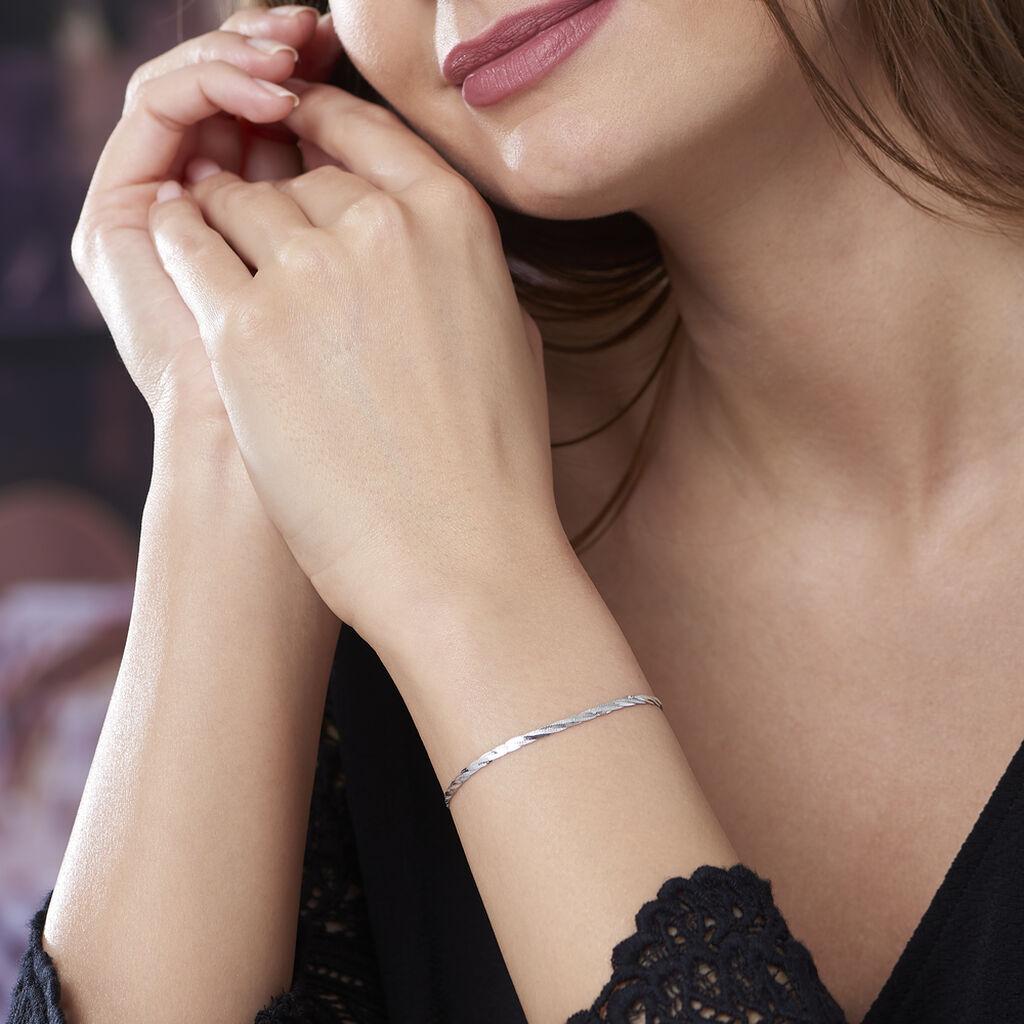 Bracelet Jasmin Tresse 3 Fils Or Blanc - Bijoux Femme   Histoire d'Or