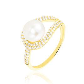 Bague Leyan Or Jaune Perle De Culture Et Oxyde De Zirconium - Bagues avec pierre Femme | Histoire d'Or