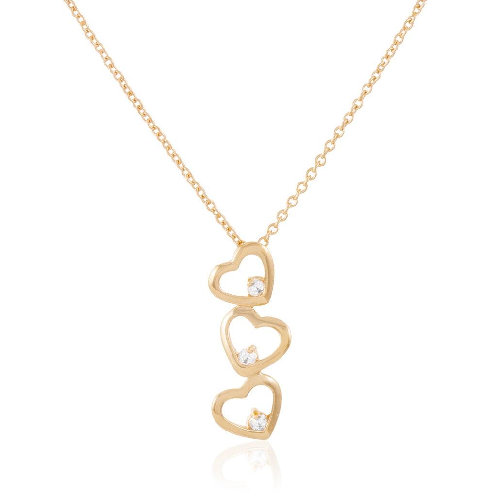 Collier Gatianne Plaque Or Jaune Oxyde De Zirconium - Colliers Coeur Femme   Histoire d'Or