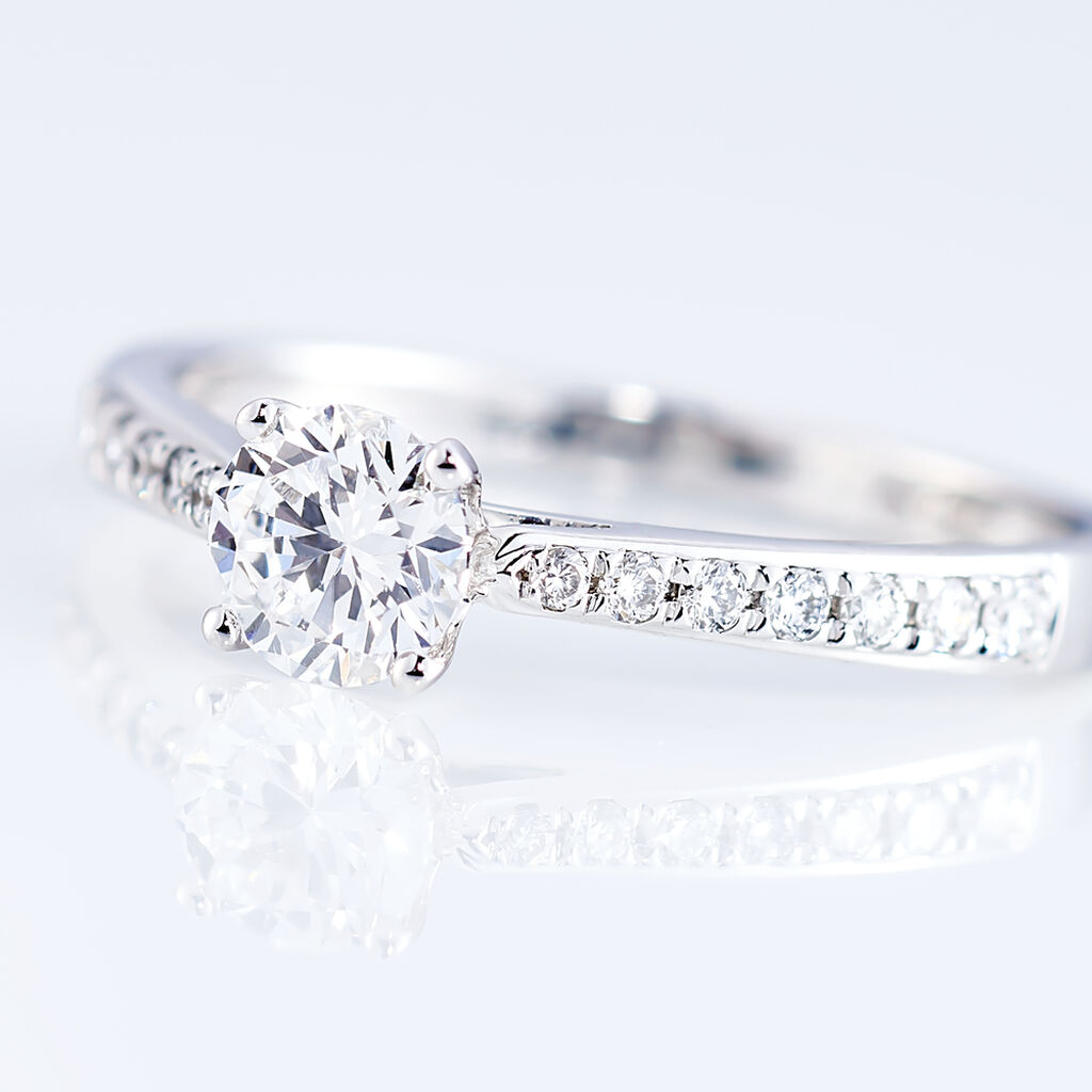 Bague Solitaire Laetitia Or Blanc Diamant Synthetique