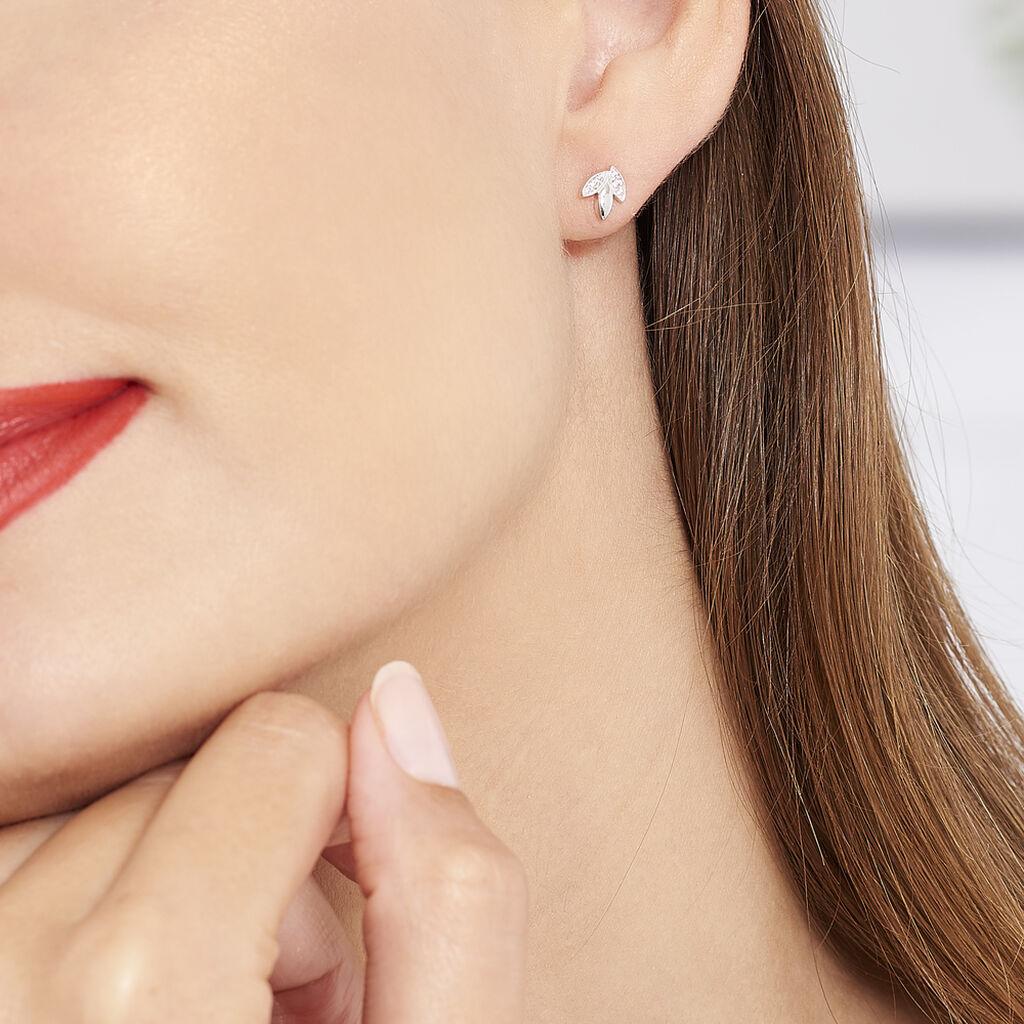 Boucles D'oreilles Puces Tihana Argent Blanc Oxyde De Zirconium - Boucles d'Oreilles Plume Femme   Histoire d'Or