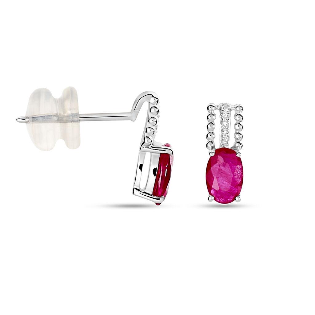 Boucles D'oreilles Puces Andrea Or Blanc Rubis Et Diamant - Clous d'oreilles Femme | Histoire d'Or