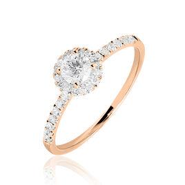 Bague Solitaire Lena Or Rose Diamant - Bagues avec pierre Femme   Histoire d'Or