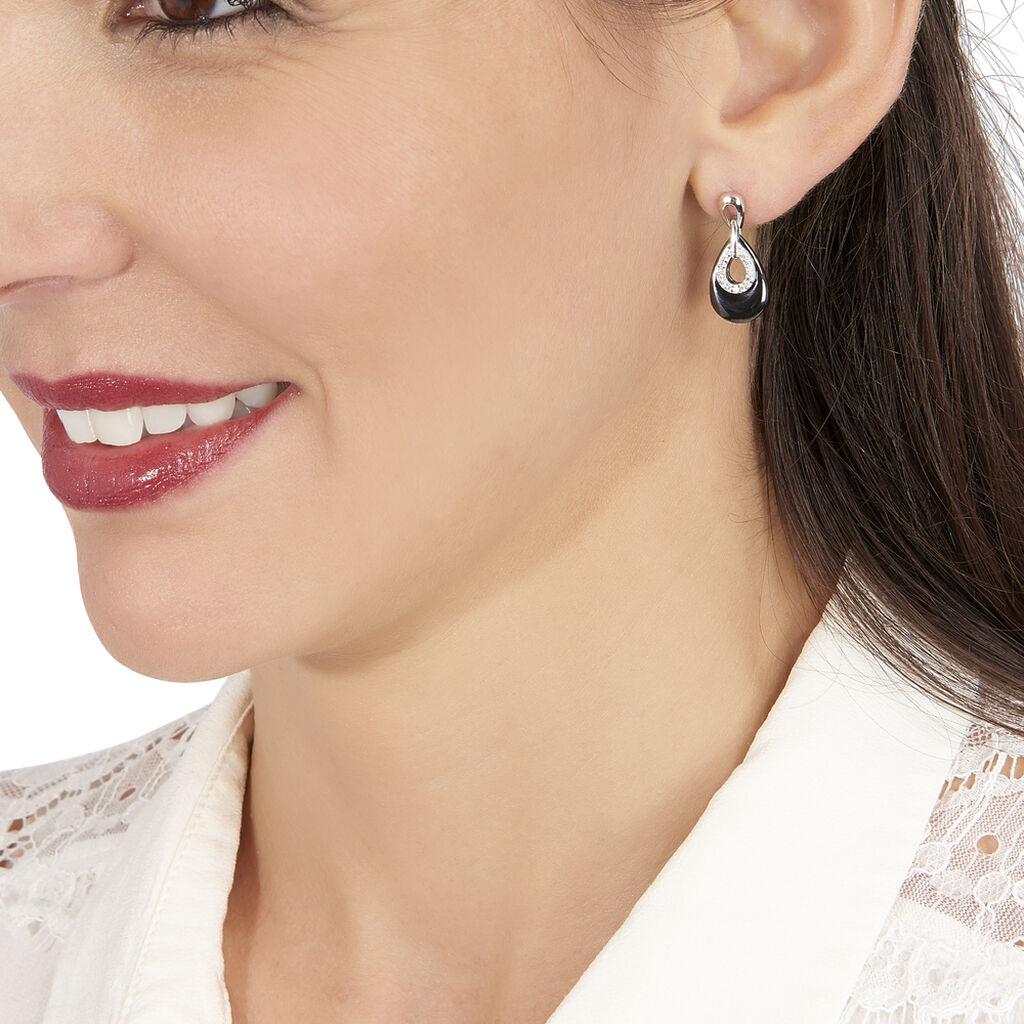 Boucles D'oreilles Pendantes Héléane Argent Céramique Et Oxyde - Boucles d'oreilles fantaisie Femme | Histoire d'Or