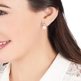 Boucles D'oreilles Pendantes Lorella Argent Blanc Perle De Culture - Boucles d'Oreilles Coeur Femme | Histoire d'Or