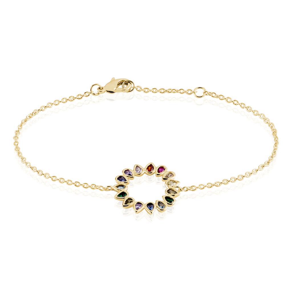 Bracelet Plaqué Or Jaune Ethem Pierres Multicolores - Bracelets fantaisie Femme   Histoire d'Or