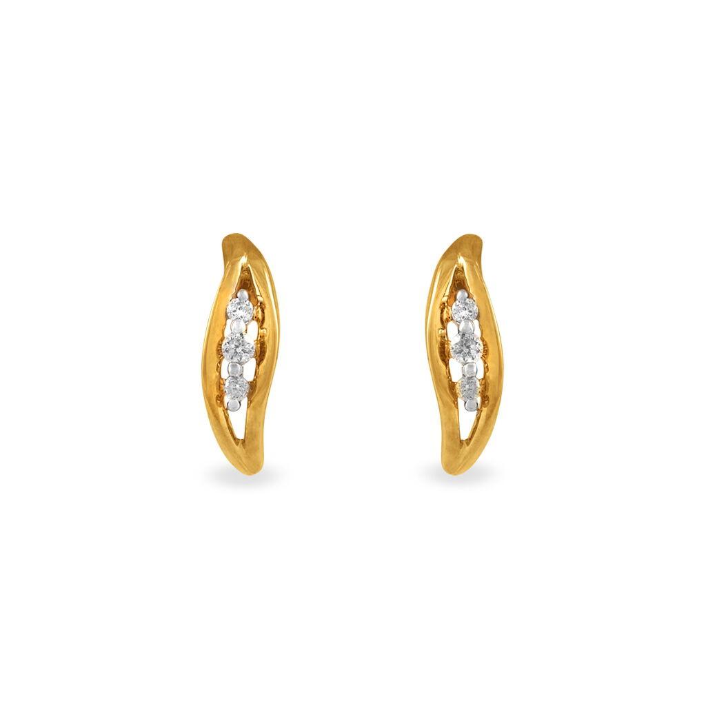 Boucles D'oreilles Puces Gulbeyazae Or Jaune Diamant - Boucles d'Oreilles Plume Femme   Histoire d'Or