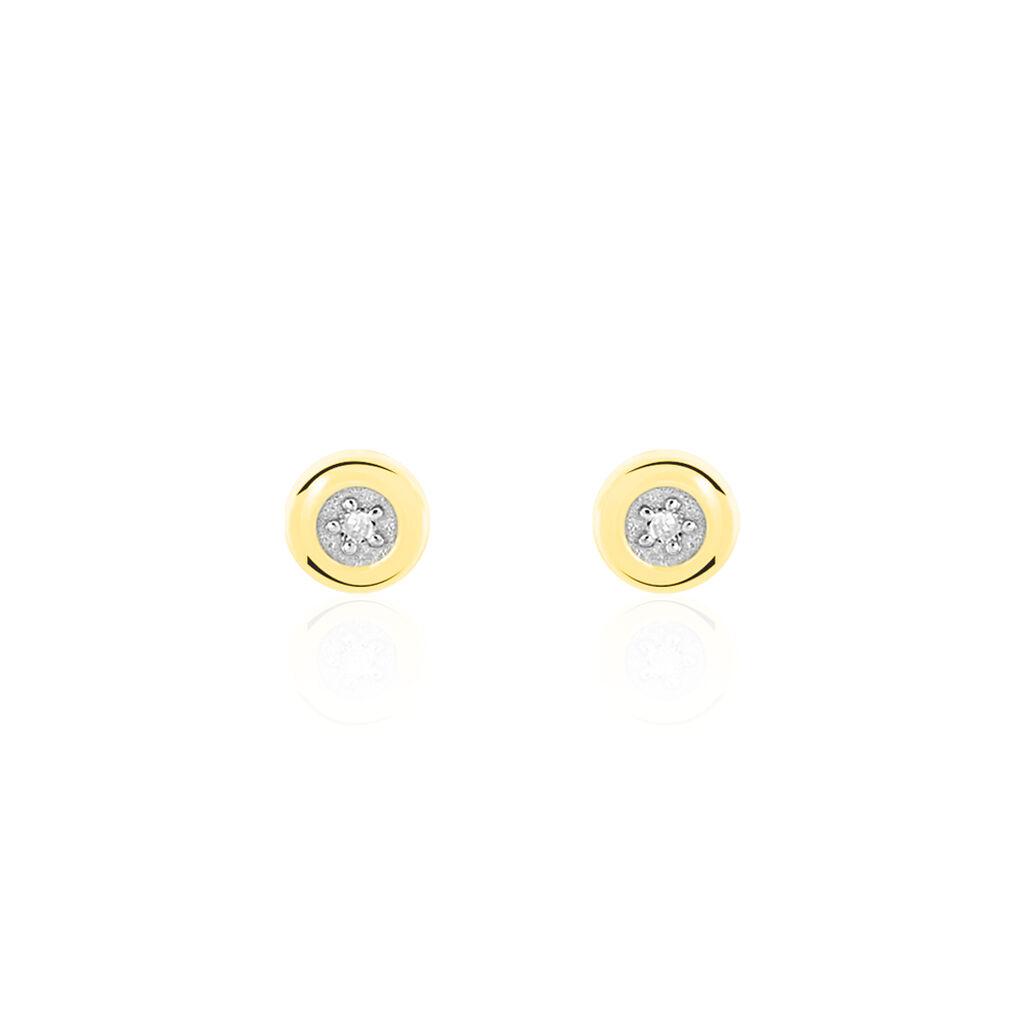 Boucles D'oreilles Puces Fatiana Or Jaune Diamant - Clous d'oreilles Femme   Histoire d'Or