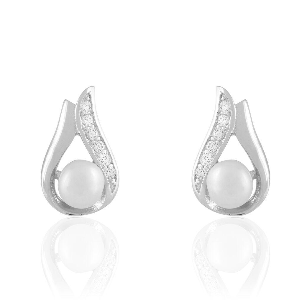 Boucles D'oreilles Puces Marie-magdeleine Argent Perle D'imitation - Boucles d'oreilles fantaisie Femme | Histoire d'Or