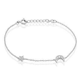 Bracelet Argent Rhodie Theoline Lunet Et Etoile Oxyde - Bracelets Lune Femme   Histoire d'Or