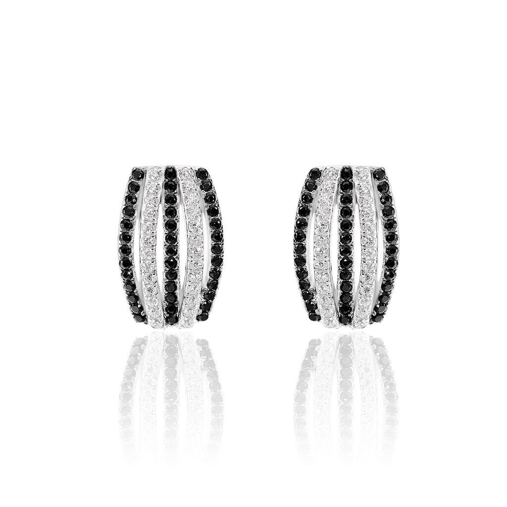 Boucles D'oreilles Puces Argent Blanc Oxyde De Zirconium - Boucles d'oreilles fantaisie Femme | Histoire d'Or