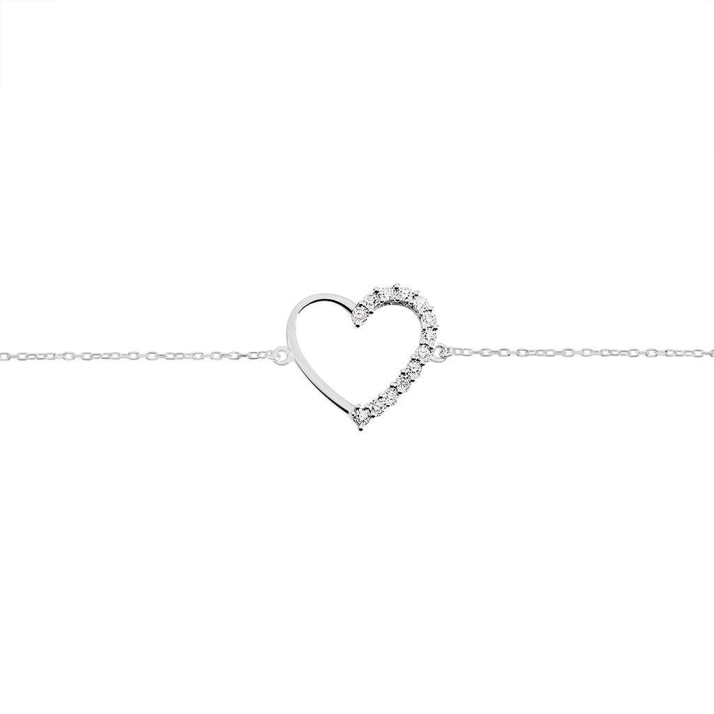 Bracelet Chlora Or Blanc Diamant - Bracelets Coeur Femme | Histoire d'Or