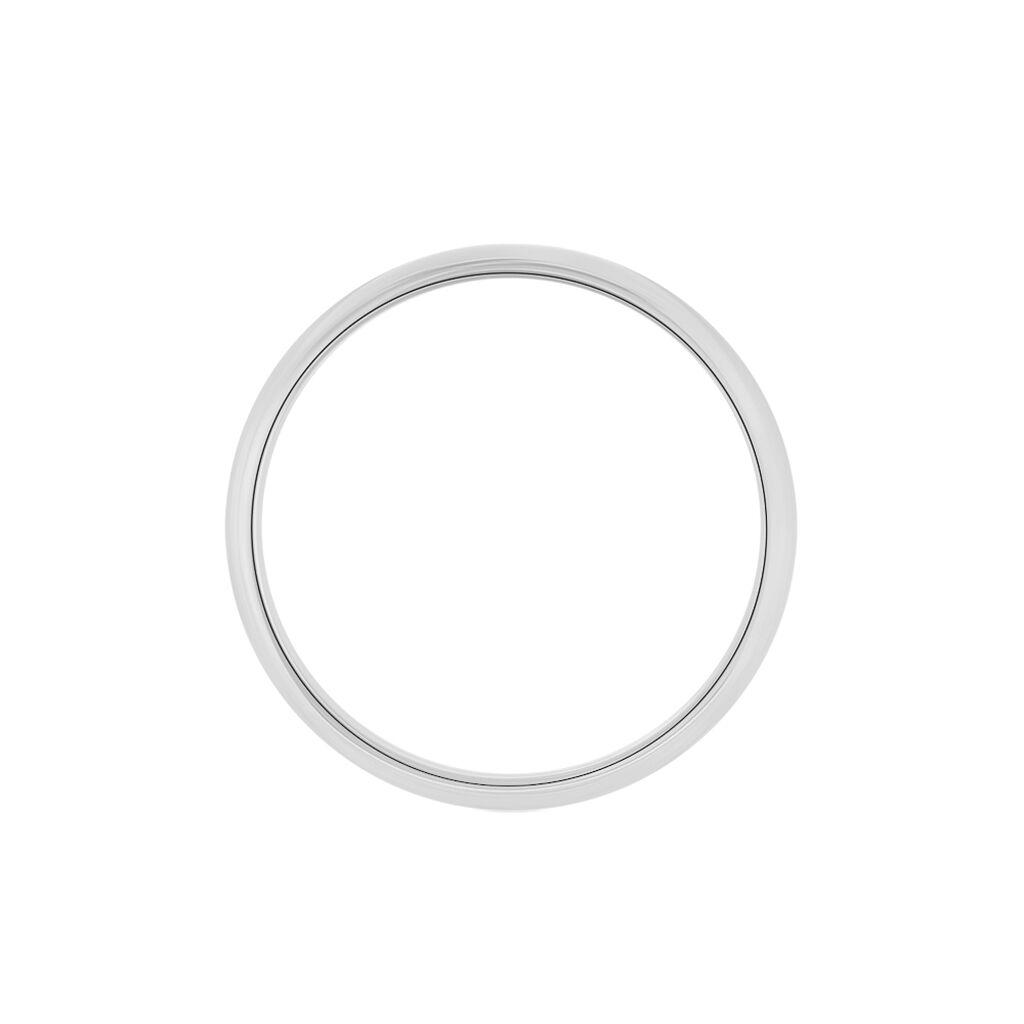 Alliance Aphrodite Demi Jonc Bombe Platine Blanc - Alliances Famille   Histoire d'Or