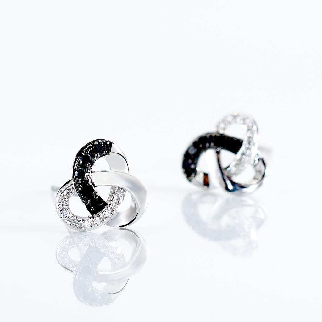 Boucles D'oreilles Puces Constellation Or Blanc Diamant - Clous d'oreilles Femme | Histoire d'Or