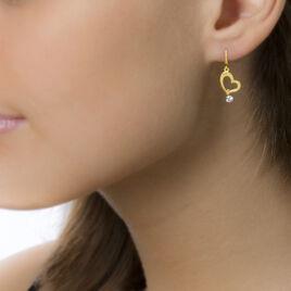 Boucles D'oreilles Pendantes Marie-berangere Or Jaune Oxyde - Boucles d'Oreilles Coeur Femme   Histoire d'Or