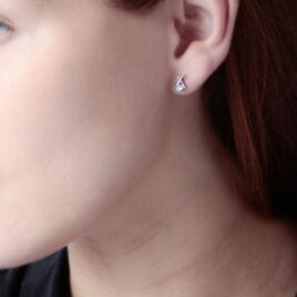 Boucles D'oreilles Puces Candyce Argent Blanc Oxyde De Zirconium - Boucles d'oreilles fantaisie Femme | Histoire d'Or