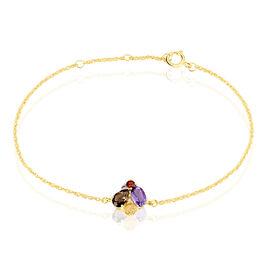 Bracelet Or Jaune Amethyste Et Quartz Et Citrine - Bijoux Femme   Histoire d'Or