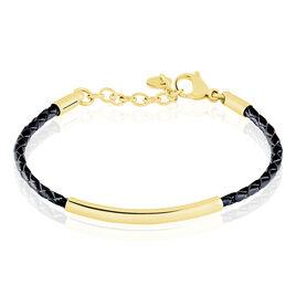 Bracelet Boshra Acier Dore Cuir Noir - Bracelets fantaisie Femme | Histoire d'Or
