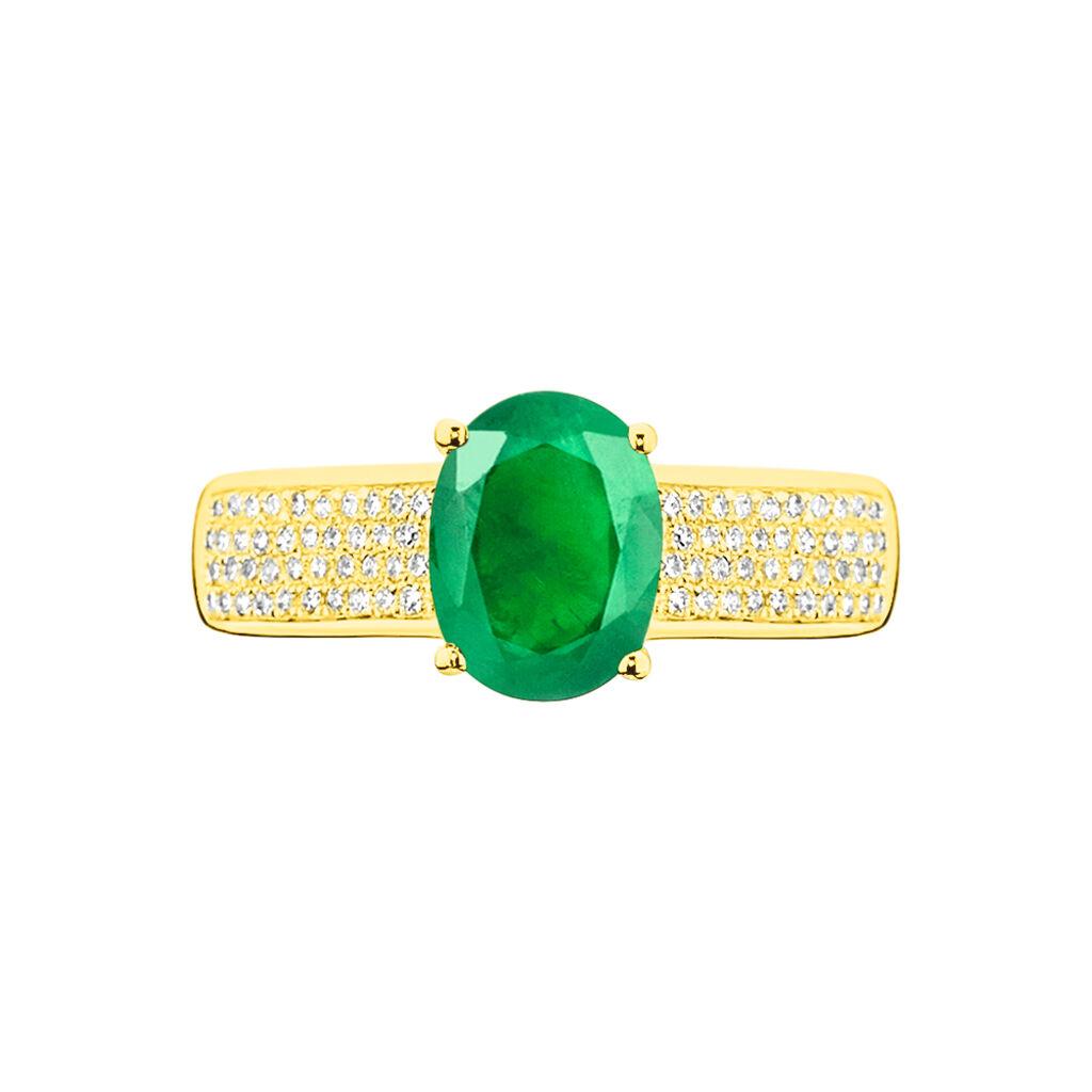 Bague Crista Or Jaune Emeraude Et Diamant - Bagues avec pierre Femme | Histoire d'Or
