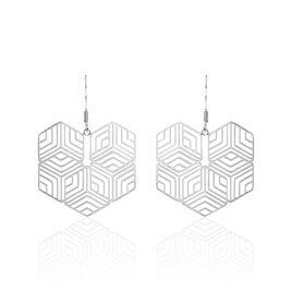 Boucles D'oreilles Pendantes Martine Acier Blanc - Boucles d'Oreilles Coeur Femme | Histoire d'Or