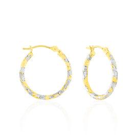 Créoles Cassi Diamantees Fil Rond Or Bicolore - Boucles d'oreilles créoles Femme | Histoire d'Or
