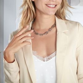 Collier Aidann Maille Marine Acier Blanc - Colliers fantaisie Femme | Histoire d'Or