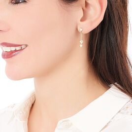 Boucles D'oreilles Pendantes Marie-virginie Plaque Or Jaune - Boucles d'Oreilles Coeur Femme | Histoire d'Or