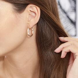Creoles Argent Rose Diamantees - Boucles d'oreilles créoles Femme | Histoire d'Or