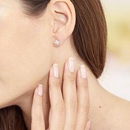 Boucles D'oreilles Argent Rhodie Etoile Oxyde - Boucles d'Oreilles Etoile Femme   Histoire d'Or