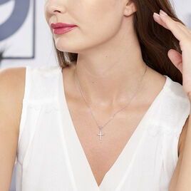 Collier Chirsta Argent Blanc Oxyde De Zirconium - Colliers Croix Femme | Histoire d'Or