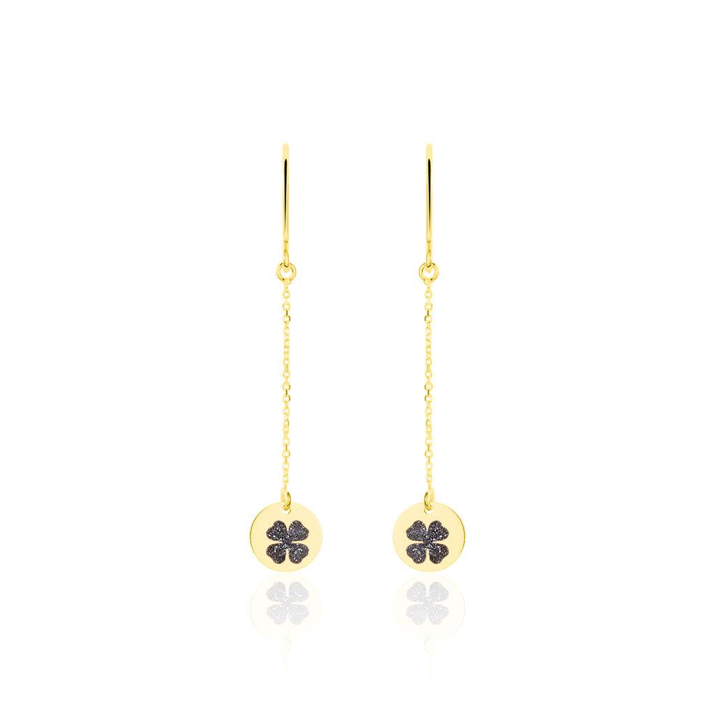 Boucles D'oreilles Pendantes Roxanne Or Jaune - Boucles d'Oreilles Trèfle Femme | Histoire d'Or