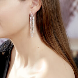 Boucles D'oreilles Pendantes Laetizia Party Argent Oxyde De Zirconium - Boucles d'Oreilles Plume Femme | Histoire d'Or