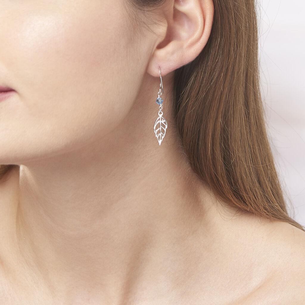 Boucles D'oreilles Pendantes Angelika Argent Blanc Pierre De Synthese - Boucles d'Oreilles Plume Femme   Histoire d'Or