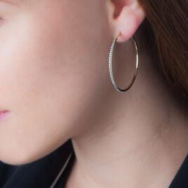 Créoles Tyhana Fil Carre Or Jaune Strass - Boucles d'oreilles créoles Femme   Histoire d'Or