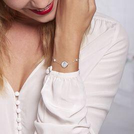 Bracelet Argent Rhodie Glad Perles De Culture Nacre Oxyde De Zirconium - Bracelets fantaisie Femme   Histoire d'Or
