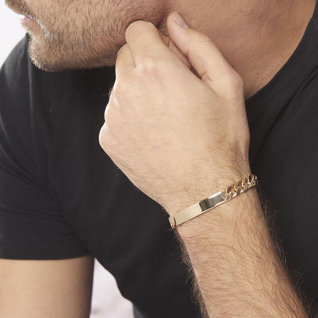 Bracelet Identité Clement Maille Gourmette Plaque Or Jaune - Gourmettes Homme | Histoire d'Or