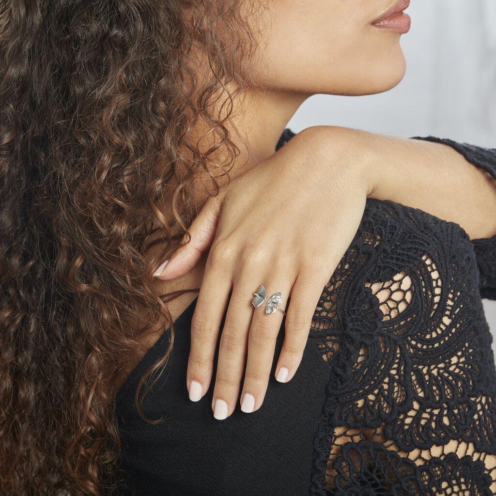 Bague Ajustable Carmelo Argent Rhodié Oxyde - Bagues Papillon Femme   Histoire d'Or