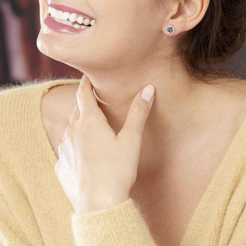 Boucles D'oreilles Puces Lise-laure Or Jaune Emeraude Et Diamant - Clous d'oreilles Femme   Histoire d'Or