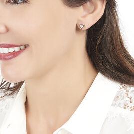 Boucles D'oreilles Puces Liana Or Rose - Boucles d'Oreilles Coeur Femme   Histoire d'Or