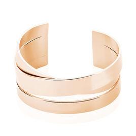 Manchette Acier Rose Pure 3 Rangs Epais Entrelaces - Bracelets fantaisie Femme | Histoire d'Or